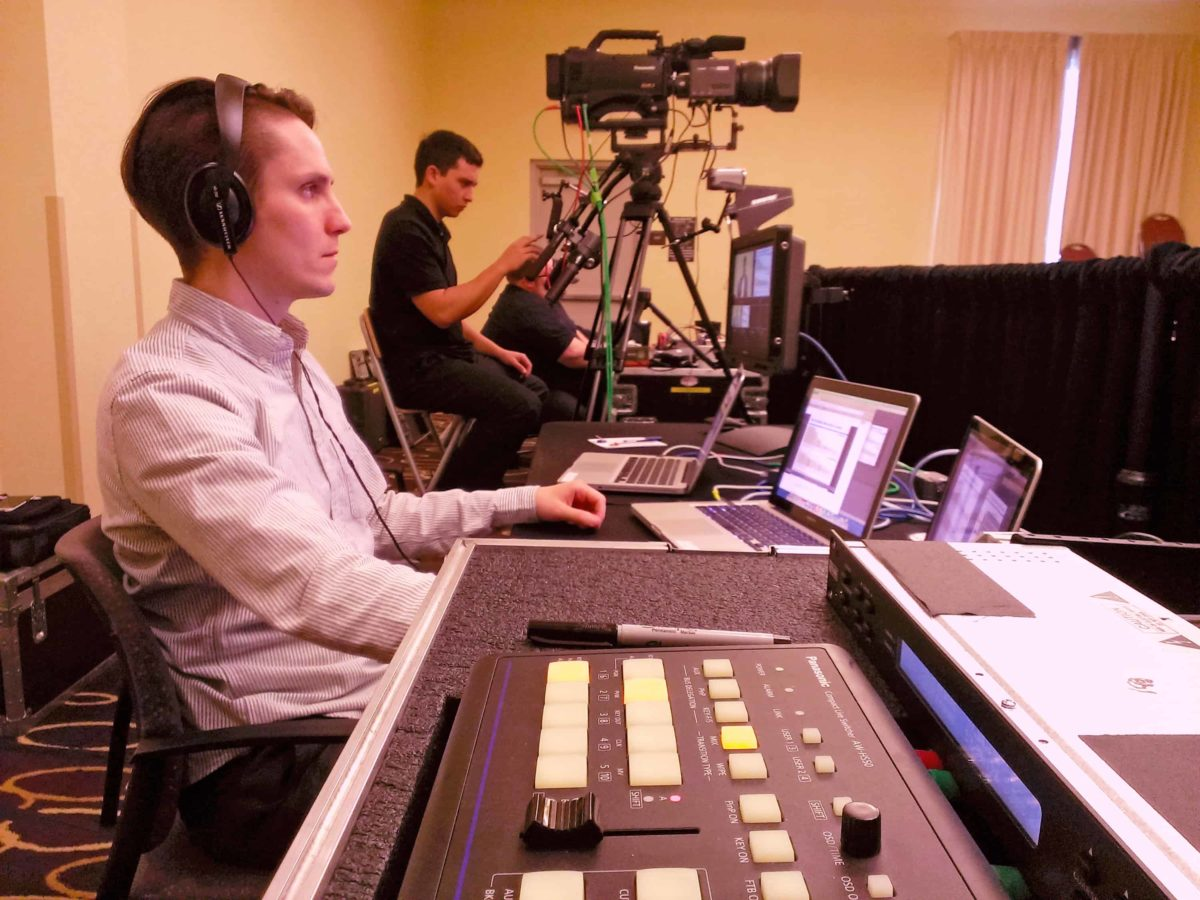 Nick and Scott using the Flypack Mobile Video Production racks