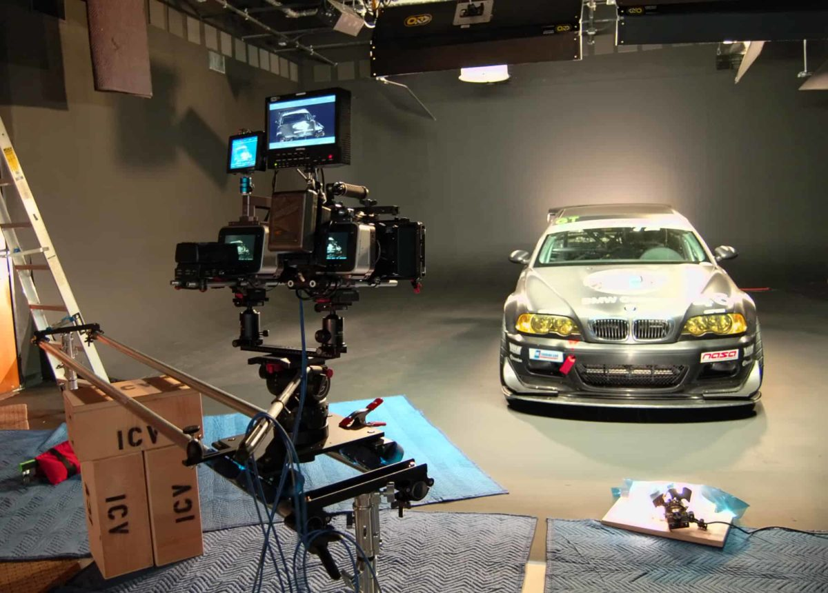 bmw video shoot in the ICV video studio sound stage with Canon DSLR and Video Slider