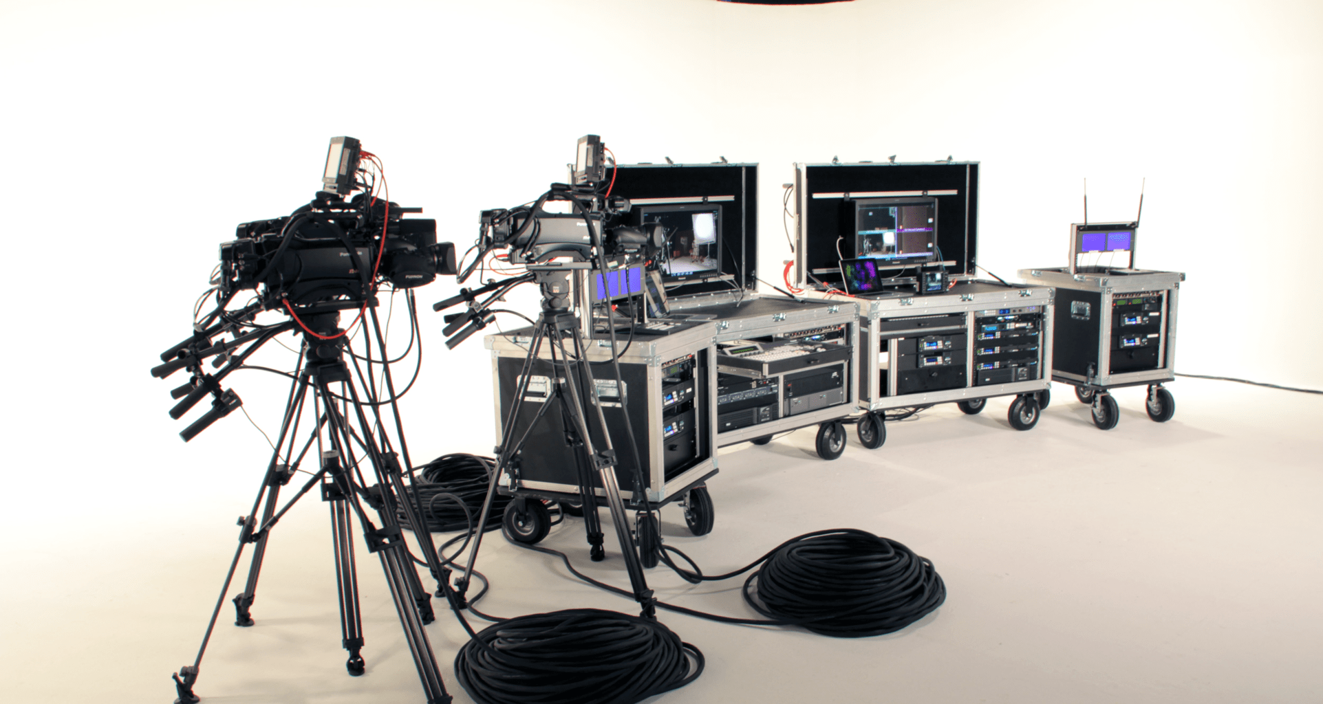 ICV flypacks with cameras in the ICV Studio